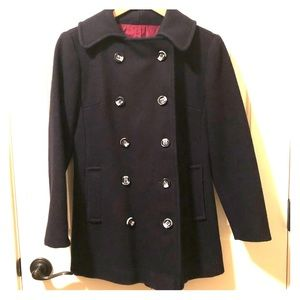 Vintage 1970's Navy Wool Double Breasted Pea Coat